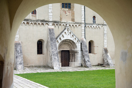 double cross: Historical entrance gate to the Saint Martins Cathedral in Spisska Kapitula, Slovakia  Stock Photo