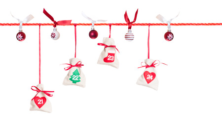 5th part of Advent calendar isolated on white background Stock Photo