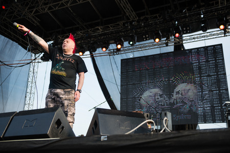 exploited: PIESTANY, SLOVAKIA - JUNE 26: Wattie Buchan - singer of Scottish punk rock band The Exploited performs on music festival Topfest in Piestany, Slovakia on July 26, 2015