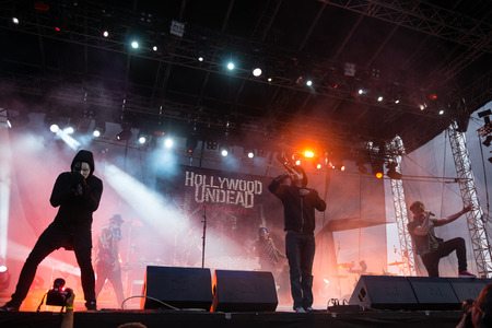 undead: PIESTANY, SLOVAKIA - JUNE 27: American rap rock band band Hollywood Undead performs on music festival Topfest in Piestany, Slovakia on July 27, 2015 Editorial