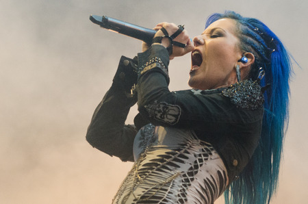 death metal: PIESTANY, SLOVAKIA - JUNE 26: Alissa White-Gluz of Swedish melodic death metal band Arch Enemy performs on music festival Topfest in Piestany, Slovakia on July 26, 2015