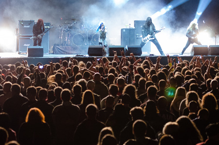 melodic: PIESTANY, SLOVAKIA - JUNE 26: Swedish melodic death metal band Arch Enemy performs on music festival Topfest in Piestany, Slovakia on July 26, 2015