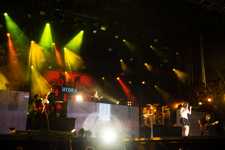 symphonic: PIESTANY, SLOVAKIA - JUNE 26: Dutch symphonic metal band Within Temptation performs on music festival Topfest in Piestany, Slovakia on July 26, 2015 Editorial