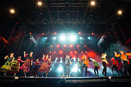 PIESTANY, SLOVAKIA - JUNE 28: Slovak music group IMT Smile featuring Slovak National Folklore Ballet Lucnica perform on music festival Topfest in Piestany, Slovakia on July 28, 2015