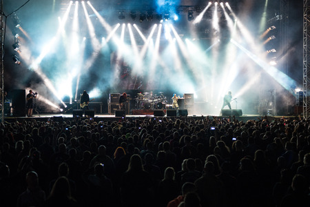 death metal: PIESTANY, SLOVAKIA - JUNE 26: Swedish melodic death metal band Arch Enemy performs on music festival Topfest in Piestany, Slovakia on July 26, 2015
