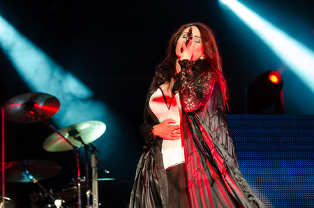 temptation: PIESTANY, SLOVAKIA - JUNE 26: vocalist Sharon den Adel of Dutch symphonic metal band Within Temptation performs on music festival Topfest in Piestany, Slovakia on July 26, 2015 Editorial
