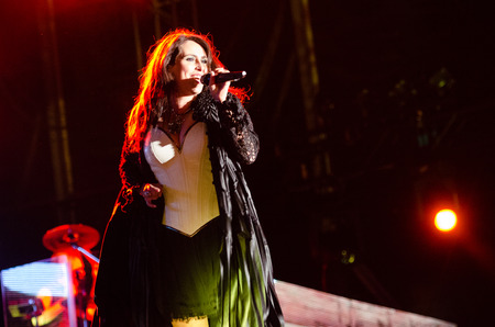 sharon: PIESTANY, SLOVAKIA - JUNE 26: vocalist Sharon den Adel of Dutch symphonic metal band Within Temptation performs on music festival Topfest in Piestany, Slovakia on July 26, 2015 Editorial