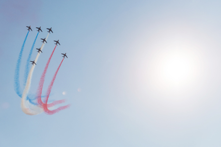 aerobatic: SLIAC, SLOVAKIA - AUGUST 30: Patrouille de France aerobatic team performs flight maneuver in formation at SIAF airshow in Sliac, Slovakia on August 30, 2015 Editorial