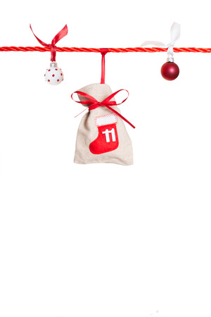 11 - part of Advent calendar isolated on white background Stock Photo