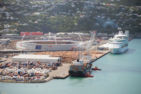 intermodal: WELLINGTON, NZ - DEC 09, 2015: Aerial view of CentrePort in Wellington, NZ. Its New Zealands most strategically situated intermodal hub, road, rail, domestic and international shipping services Editorial