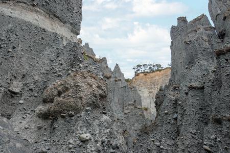 north island: Putangirua Pinnacles in the Aorangi Ranges, North Island, New Zealand Stock Photo