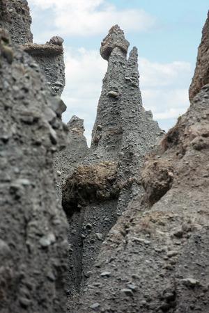 badland: Putangirua Pinnacles in the Aorangi Ranges, North Island, New Zealand Stock Photo