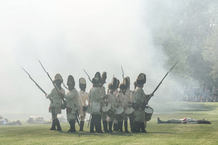 reenactor: BRATISLAVA, SLOVAKIA - MAY 21: Reenactment of the Siege of Pressburg by Napoleon in 1809 at Bratislava, Slovakia on May 21, 2016 Editorial