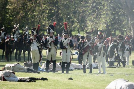 siege: BRATISLAVA, SLOVAKIA - MAY 21: Reenactment of the Siege of Pressburg by Napoleon in 1809 at Bratislava, Slovakia on May 21, 2016 Editorial