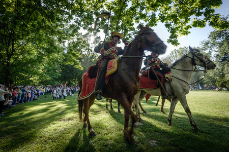 siege: BRATISLAVA, SLOVAKIA - MAY 21: Reenactment of the Siege of Pressburg by Napoleon in 1809 at Bratislava, Slovakia on May 21, 2016 Editorial