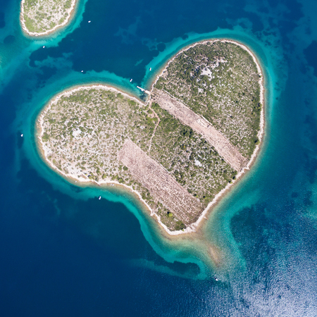 Aerial view of the heart shaped Galesnjak island on the Adriatic coast of Croatia