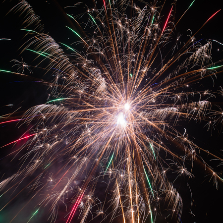New Years Eve fireworks explosion Stock Photo