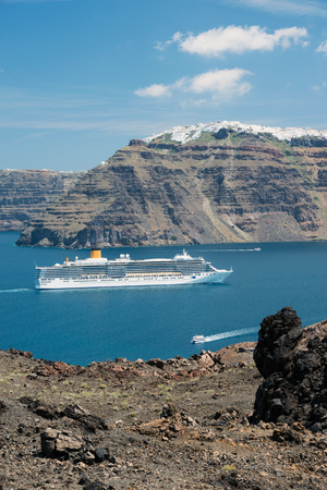 Cruise ship sailing to Santorini island, Greece