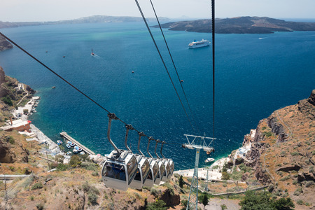 Caldera view from the cable car from Fira to port, Santorini, Greece