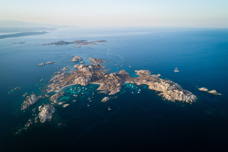 Aerial view of Lavezzi island near Corsica island, France