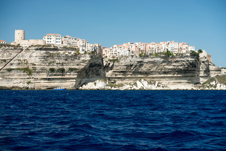 Panoramic view of Bonifacio city and cliffs, Corsica island, France