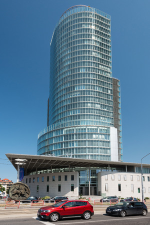BRATISLAVA, SLOVAKIA - AUGUST 21, 2018: Skyscraper of National Bank of Slovakia in Bratislava. Is one of the highest buildings in Bratislava (111,6 m) Editöryel