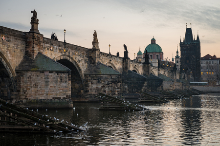The Charles Bridge is a famous historic bridge that crosses the Vltava river in Prague, Czech Republic Redakční