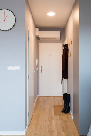 BRATISLAVA, SLOVAKIA - DEC 17, 2018: Hallway of small apartment created by young interior designers from Kivvi architects based in Bratislava, Slovakia