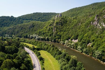 Aerial view of ruins of the Old Strecno castle (Starhrad) and Vah river, Slovak republic