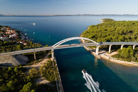 Zdrelac bridge connecting Ugljan and Pasman islands, Croatia Stock Photo - 132309887
