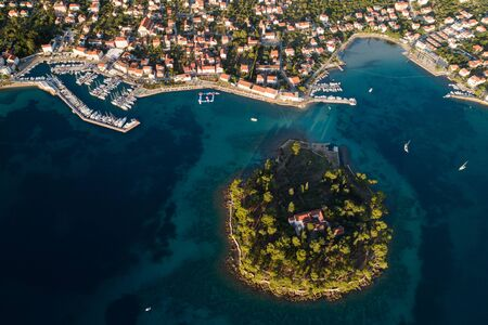 Aerial view of Galevac islet and Preko town, Ugljan island, Croatia