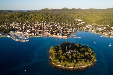 Aerial view of Galevac islet and Preko town, Ugljan island, Croatia