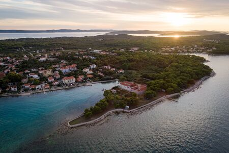 Aerial view of St. Jerolim monastery at Ugljan village during sunset, Croatia