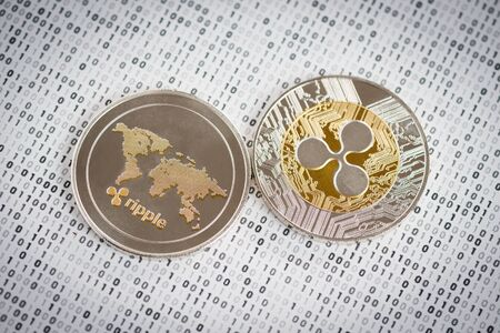 Crypto currency coin - Ripple on binary background