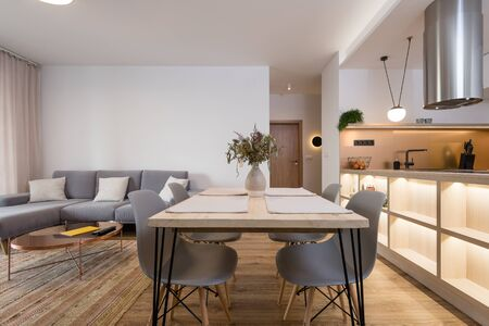 Dining table between kitchen and living room in contemporary apartment
