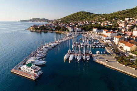 Aerial view of marina in a town Preko, Ugljan Island, Croatia