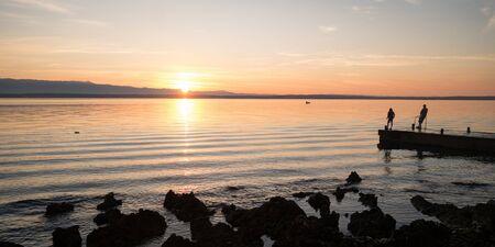 Beautiful and tender orange sunrise above Adriatic sea, Croatia