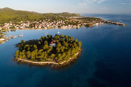 Aerial view of Galevac islet and Preko town, Ugljan island, Croatia Stock Photo - 132343372