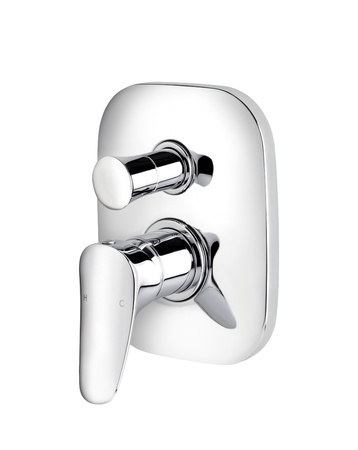 Beautiful modern designed of chrome faucet for hot and cold water Stock Photo - 15772051