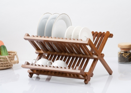 A small wooden shelf for keeping dishes and cups Stock Photo - 16658193