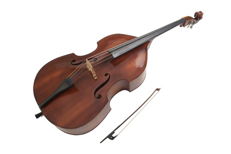 Double bass or string bass, upright bass, stand up bass or contra bass Stock Photo