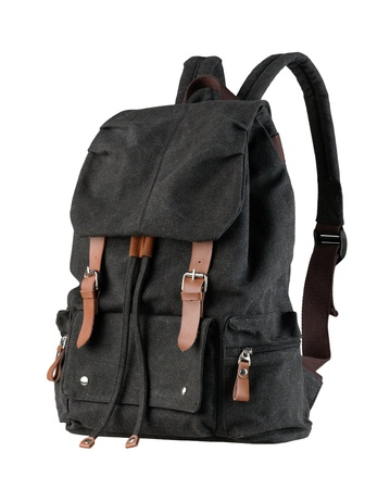 school bag: A beautiful black canvas backpack for loading stuffs Stock Photo