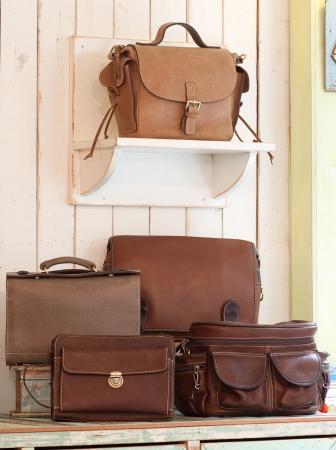 Set of beautiful leather bag and handbag