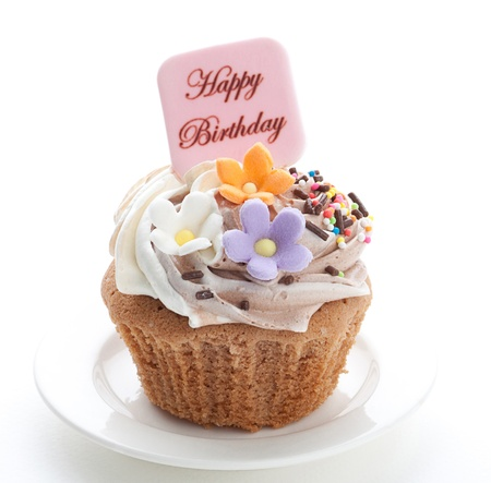 fancy cake:  Enjoy your birthday party with colorful birthdays cupcake Stock Photo
