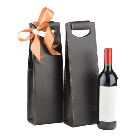 wine gift: A luxury leather wine bag and wine bottle  Stock Photo