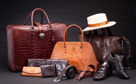 brown leather hat: Set of products which made of crocodile leather Stock Photo