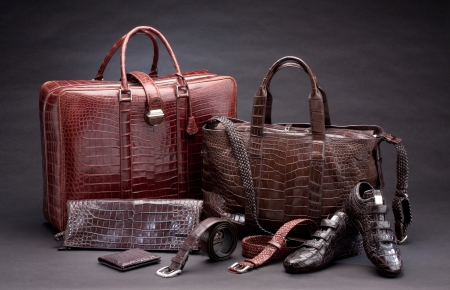 black leather: Set of products which made of crocodile leather Stock Photo