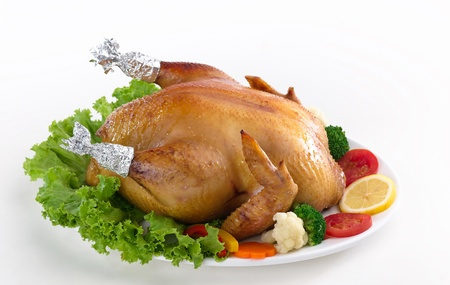 christmas turkey: Eatable whole grilled chicken served with vegetable