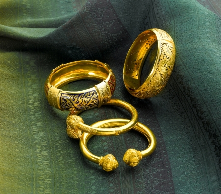 Luxury gold bracelets in Thai ancient style photo