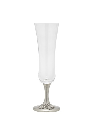 An elegance empty champagne glass decorated by pewter photo